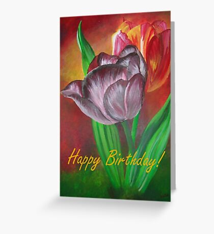 Two Tulips Happy Birthday Greeting Greeting Card