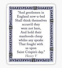 And Gentlemen In England - Shakespeare Sticker