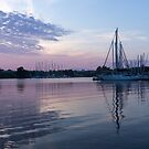 Soft Purple Ripples - Yachts and Clouds Reflections by Georgia Mizuleva