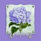 Purple Hydrangea Fancy Ribbon Fiber Paper Cutouts by Beverly Claire Kaiya
