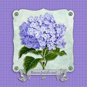 Purple Hydrangea Fancy Ribbon Fiber Paper Cutouts by beverlyclaire