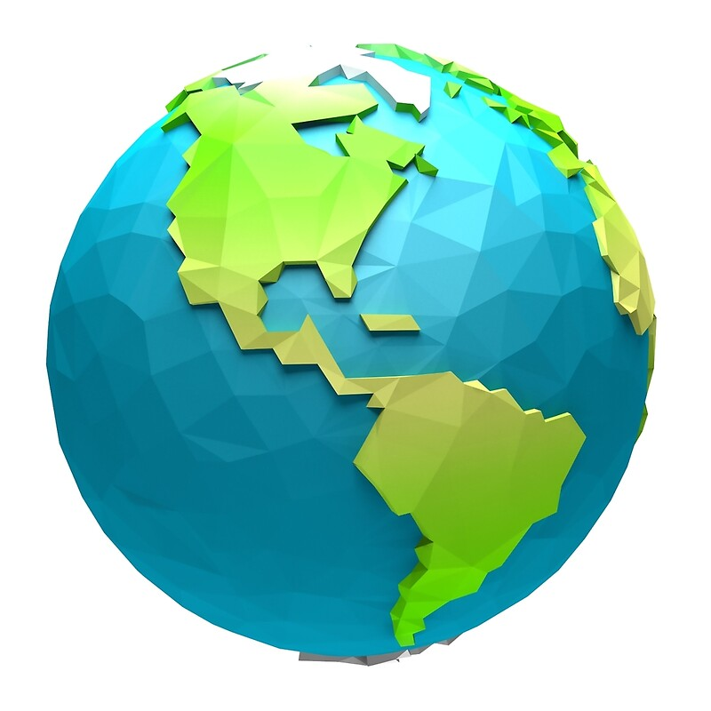 "Cartoon low poly globe USA"" Art Prints by PauslenDesign 