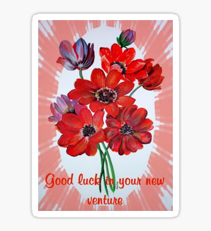 Good Luck In Your New Venture Anemone Greeting Sticker