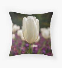 A white tulip. Throw Pillow