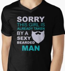 Sorry, this girl is already taken by a sexy bearded man Men's V-Neck T-Shirt