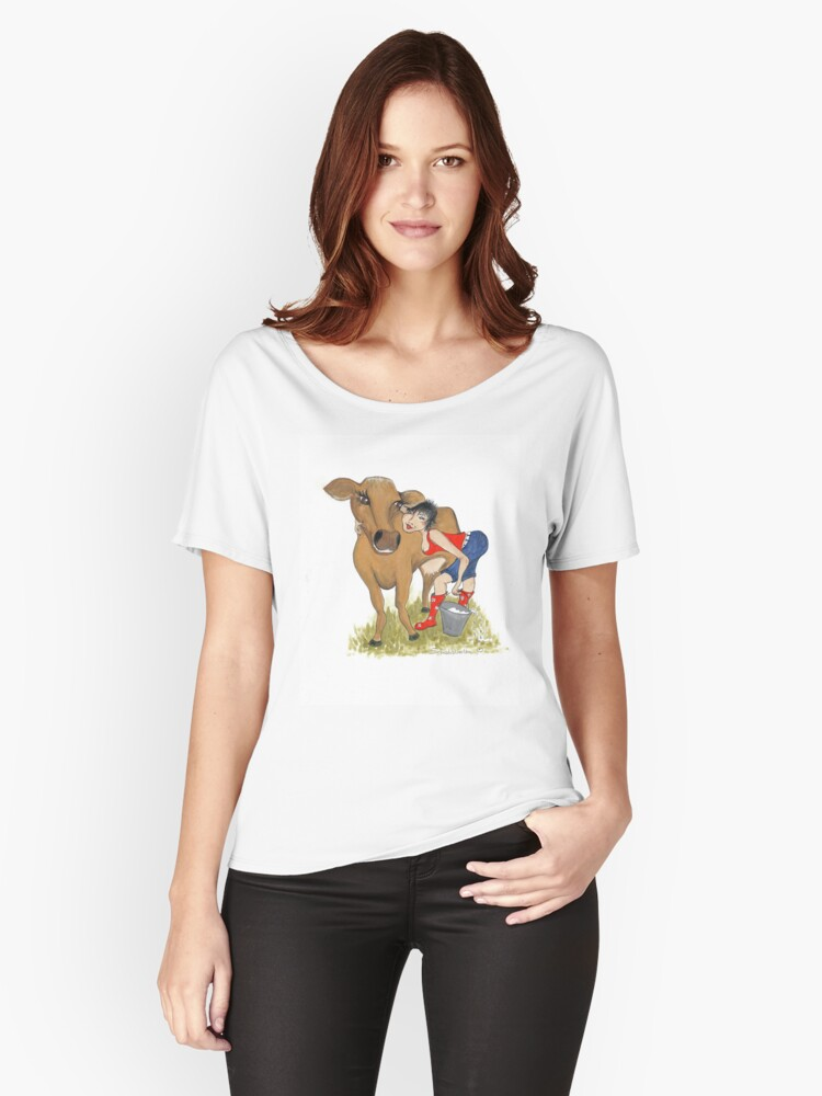 Dairy Cow Girl Women's Relaxed Fit T-Shirt Front