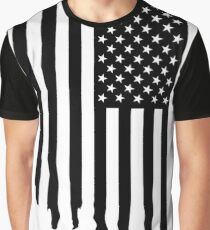 Black and white american flag - dripping Graphic T-Shirt