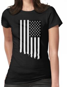 Black and white american flag - dripping Womens Fitted T-Shirt