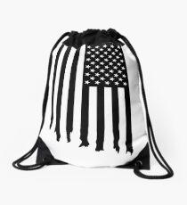Black and white american flag - dripping Drawstring Bag