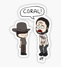 The Walking Dead, Coral meme illustration Sticker