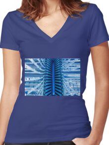 Industrial background Women's Fitted V-Neck T-Shirt