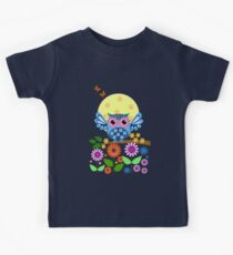 Decorative spring owl and flowers Kids Tee