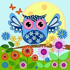 Decorative spring owl and flowers by walstraasart