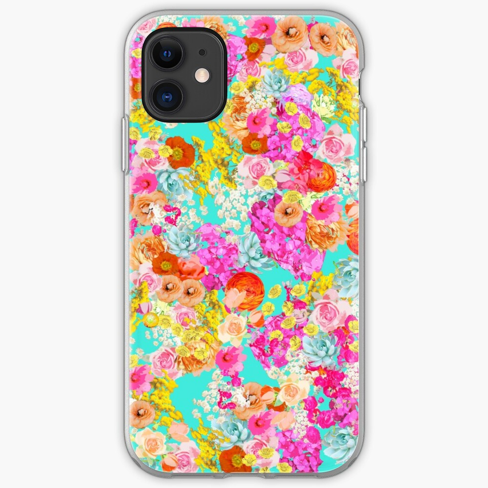 Summer Bright Floral With Turquoise Background Iphone Case