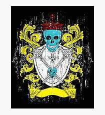 Blue Skull Coat of Arms Photographic Print
