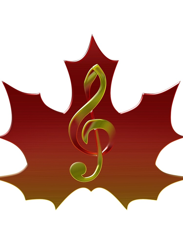 Treble Clef Overlaying Red Maple Leaf de grounds