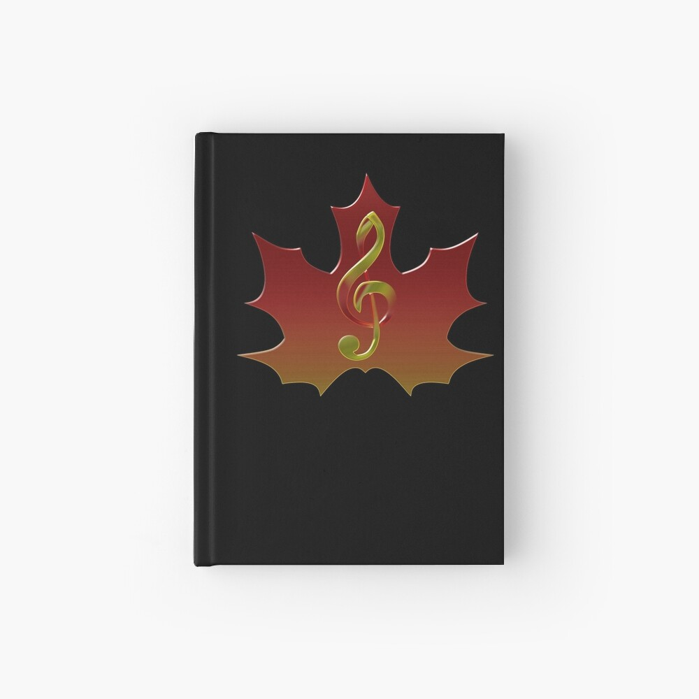 Treble Clef Overlaying Red Maple Leaf Cuaderno de tapa dura