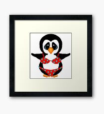 Beach Penguin in Floral Swimsuit Framed Print