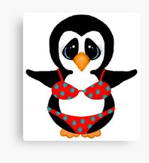 Beach Penguin in Floral Swimsuit Canvas Print