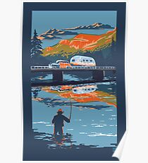 Retro Airstream travel poster Poster