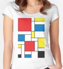 Geometric Grids and Boxes in Bold Colors (Mondrian Style) Women's Fitted Scoop T-Shirt