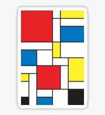 Geometric Grids and Boxes in Bold Colors (Mondrian Style) Sticker