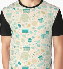 Christmas & New Year Pattern Graphic T-Shirt