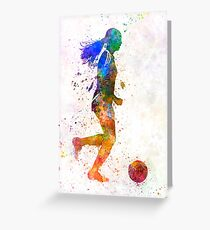 Girl playing soccer football player silhouette Greeting Card