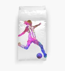 Girl playing soccer football player silhouette Duvet Cover