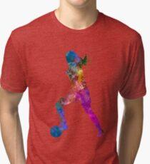 Girl playing soccer football player silhouette Tri-blend T-Shirt