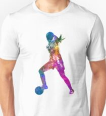 Girl playing soccer football player silhouette Slim Fit T-Shirt