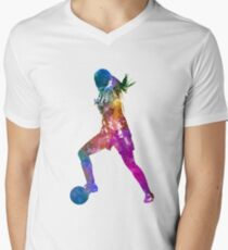 Girl playing soccer football player silhouette Men's V-Neck T-Shirt