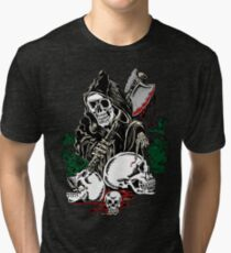 Death With Ax Blood and Skulls Tri-blend T-Shirt