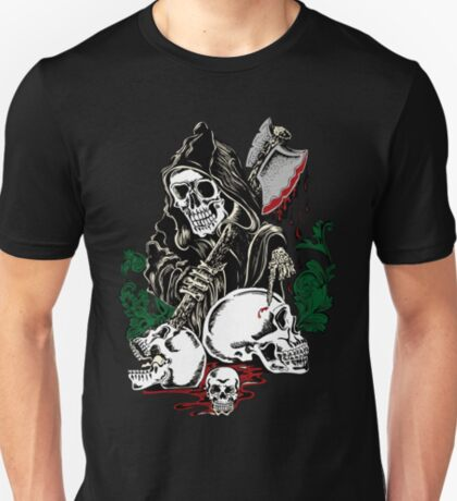 Death With Ax Blood and Skulls T-Shirt