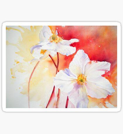 White Windflowers Sticker