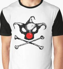 Bozo Skull 2  - Red Nose Graphic T-Shirt