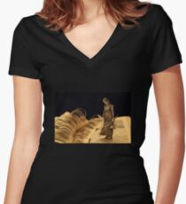 Perhaps I shall find out somebody's secret! book sculpture Women's Fitted V-Neck T-Shirt
