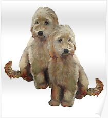 Golden Doodle Puppies, Dog Couple, Oil Pastel Art Poster