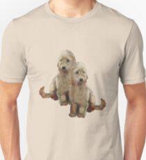 Golden Doodle Puppies, Dog Couple, Oil Pastel Art Unisex T-Shirt