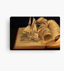 Treasure Island book sculpture. Still no soul appeared upon her decks. Canvas Print