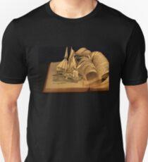 Treasure Island book sculpture. Still no soul appeared upon her decks. Unisex T-Shirt