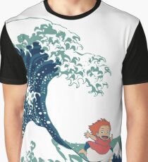 Ponyo and The Great Wave off Kanagawa - Moderne Graphic T-Shirt