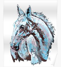 White horse - on white background Poster