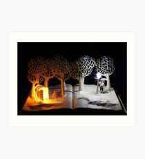The Lion, The Witch and the Wardrobe Narnia book sculpture Art Print