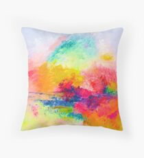 Bright Colorful Abstract Painting Print Throw Pillow