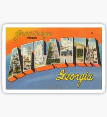 Vintage Colorful Greetings From Atlanta Georgia Sticker