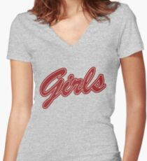 Girls (Red) Women's Fitted V-Neck T-Shirt