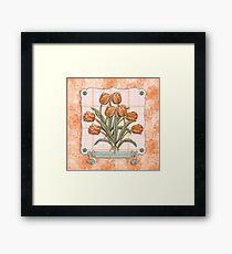 Vintage Orange Tulips Peach Pink Plaid Green Ribbon Framed Print
