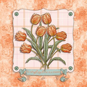 Vintage Orange Tulips Peach Pink Plaid Green Ribbon by beverlyclaire