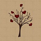Valentine Tree Hearts Wooden Branches Burlap Love by Beverly Claire Kaiya